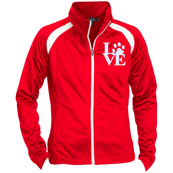 Love Paw Wht Embroidered - LST90 Sport-Tek Ladies' Raglan Sleeve Warmup Jacket True Red/White X-Small - Little Pit Shop