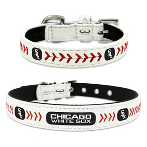 Chicago White Sox Leather Dog Collar   - Little Pit Shop
