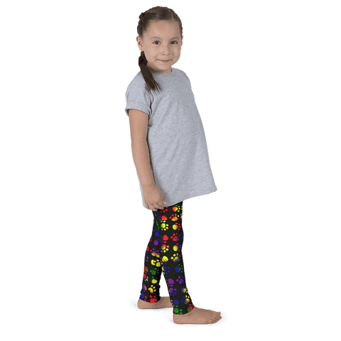 Colorsplash Paw Print Kid's Leggings By Little Pit Shop   - Little Pit Shop