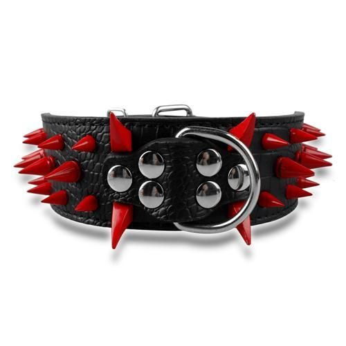 "Wide Spiked Studded Leather Dog Collars 2"" x (15-24"") For Medium Large Breeds Black Red Spike S - Little Pit Shop"