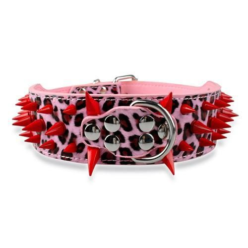 "Wide Spiked Studded Leather Dog Collars 2"" x (15-24"") For Medium Large Breeds Pink Red Spike S - Little Pit Shop"