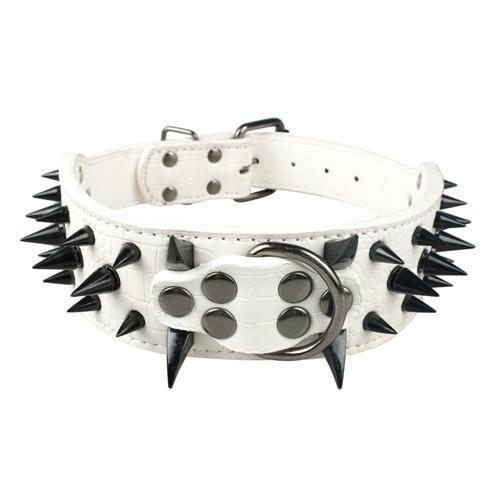 "Wide Spiked Studded Leather Dog Collars 2"" x (15-24"") For Medium Large Breeds White Black Spike S - Little Pit Shop"