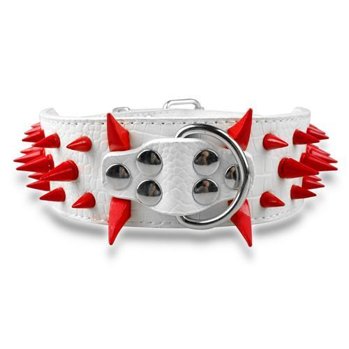 "Wide Spiked Studded Leather Dog Collars 2"" x (15-24"") For Medium Large Breeds White Red Spike S - Little Pit Shop"