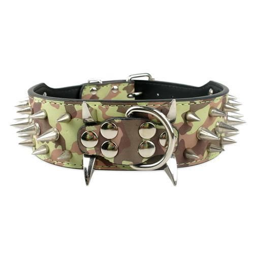"Wide Spiked Studded Leather Dog Collars 2"" x (15-24"") For Medium Large Breeds Camouflage S - Little Pit Shop"