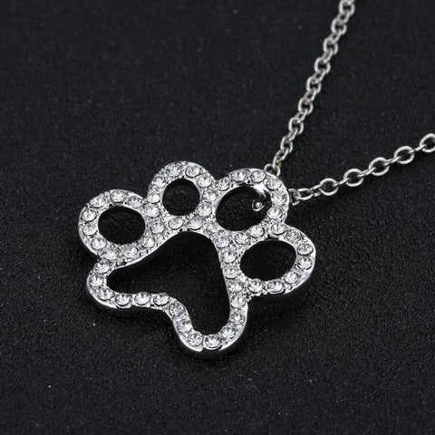 Crystal Paw Pendant Necklace   - Little Pit Shop