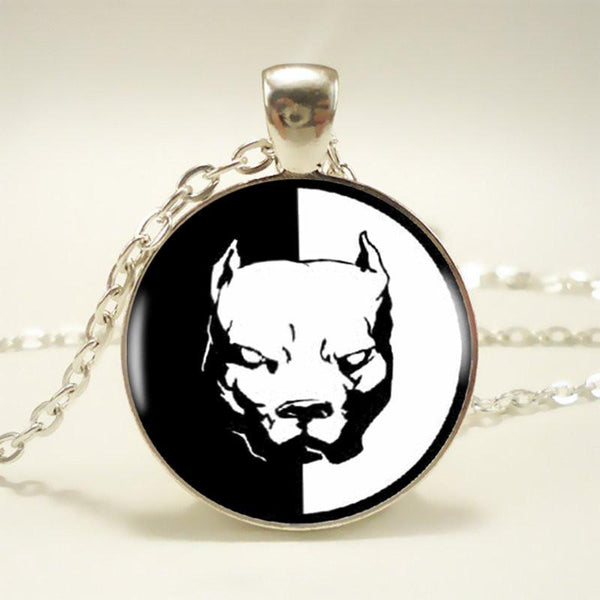 Black and White Pit Bull Pendant Choker   - Little Pit Shop