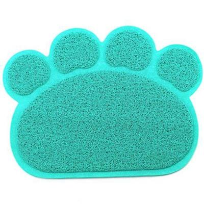 PVC Paw Shaped Feeding Bowl Mat 3 light bule paw 30x40cm - Little Pit Shop