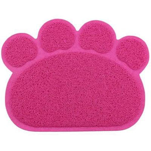 PVC Paw Shaped Feeding Bowl Mat 4 rose Red paw 30x40cm - Little Pit Shop