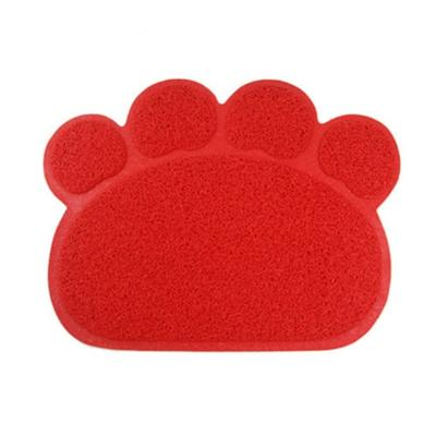 PVC Paw Shaped Feeding Bowl Mat 6 red paw 30x40cm - Little Pit Shop