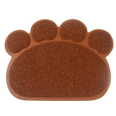 PVC Paw Shaped Feeding Bowl Mat 7 Brown paw 30x40cm - Little Pit Shop