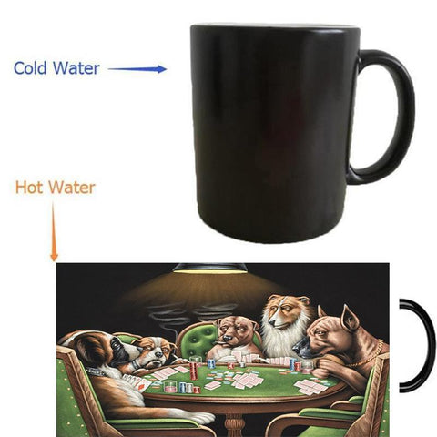 Classic Dogs Playing Poker Heat Reveal Mug   - Little Pit Shop