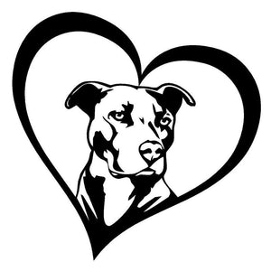 "Love Pit Bull Decal 6"" x 6"", Stickers 