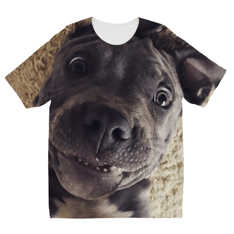 Lil D Crazy Eye Kids' Sublimation T-Shirt By Little Pit Shop, Apparel | Pit Bull T Shirts, Hoodies and more | Little Pit Shop