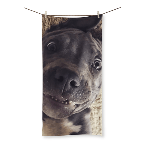 Li'L D Crazy Eyes - Beach Towel By Little Pit Shop, Homeware | Pit Bull T Shirts, Hoodies and more | Little Pit Shop