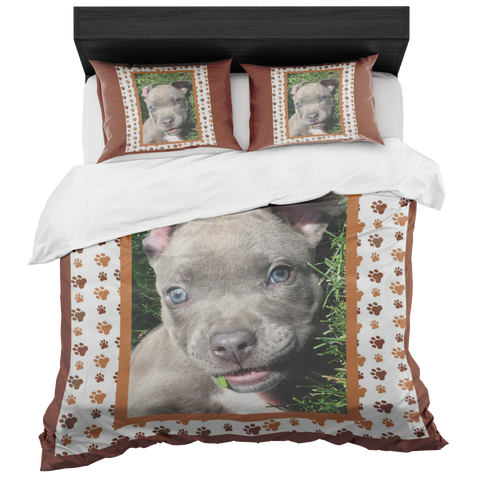 Pit Bull Puppy Bedroom Set - Brown Queen  - Little Pit Shop