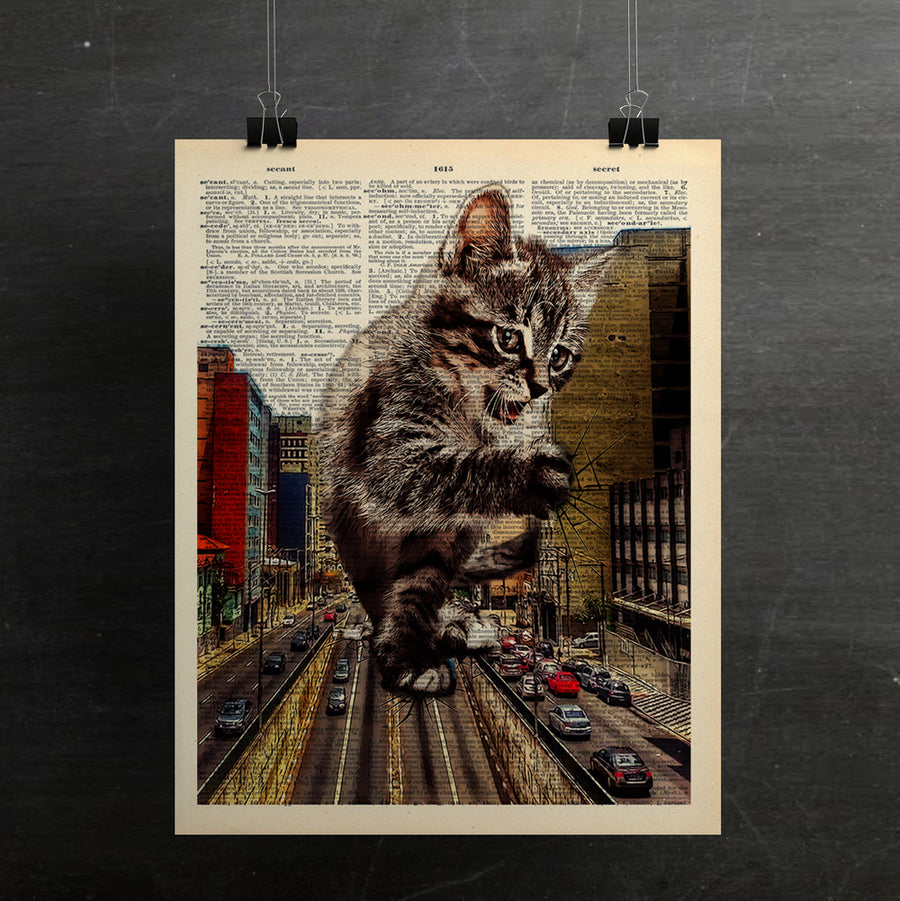 Catzilla Art Print On Vintage Dictionary Page - ShopTheMakers.com