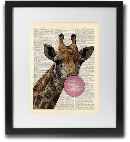 Bubblegum Giraffe Wall Art Printed On Recycled Vintage Dictionary Page. - ShopTheMakers.com
