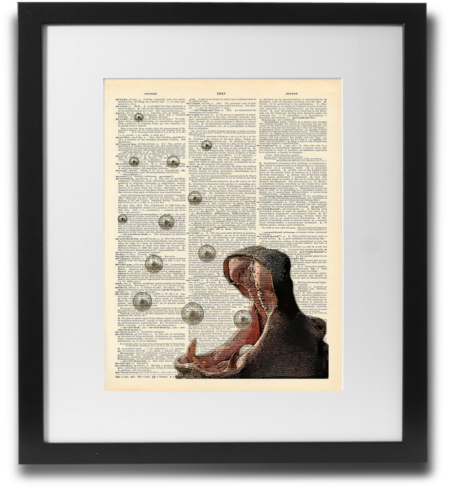 Hungry Hippo Wall Art Printed On Recycled Vintage Dictionary Page. - ShopTheMakers.com
