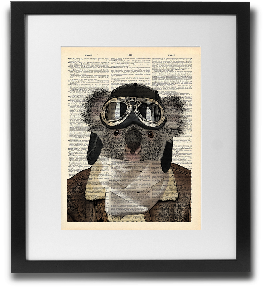 Aviator Koala Wall Art Printed On Recycled Vintage Dictionary Page. - ShopTheMakers.com