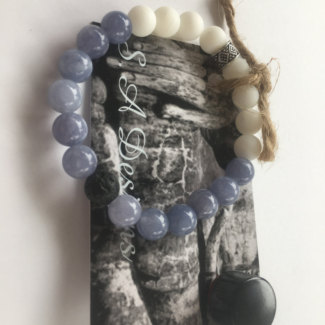 Aquamarine and White Onyx with Lava stones + Young Living Oil - ShopTheMakers.com
