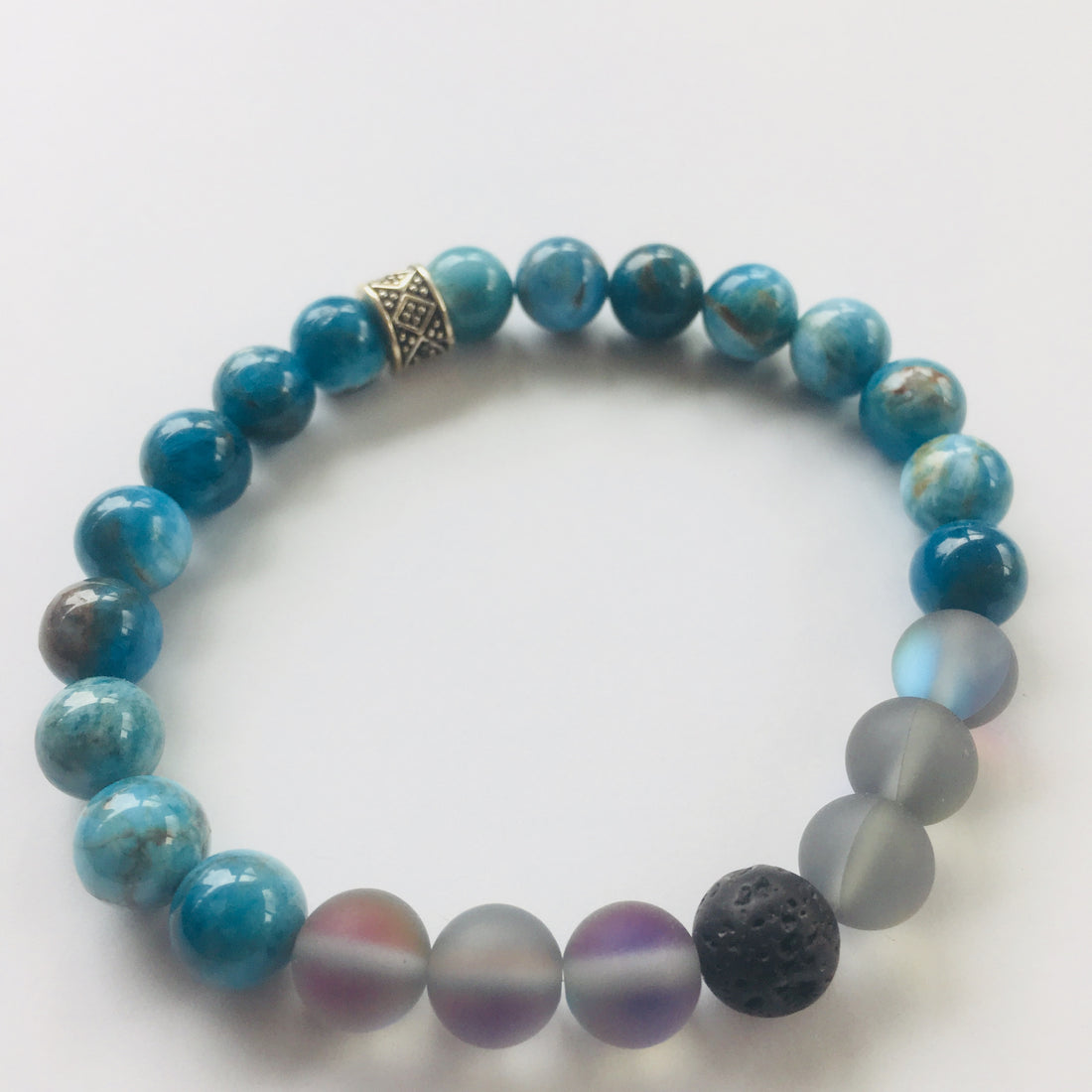 Blue Apatite with Grey Mystic Aura and Lava stones + Young Living Essential Oil - ShopTheMakers.com