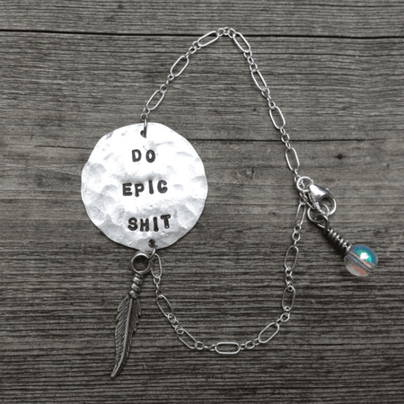 """DO EPIC SHIT"" Hand Stamped Adjustable Bracelet - ShopTheMakers.com"
