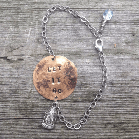 """LET IT GO"" Hand Stamped Bracelet - ShopTheMakers.com"