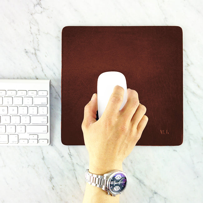 Leather Mouse pad - large size / Elegant Personalized Handmade Leather Mousepad - ShopTheMakers.com