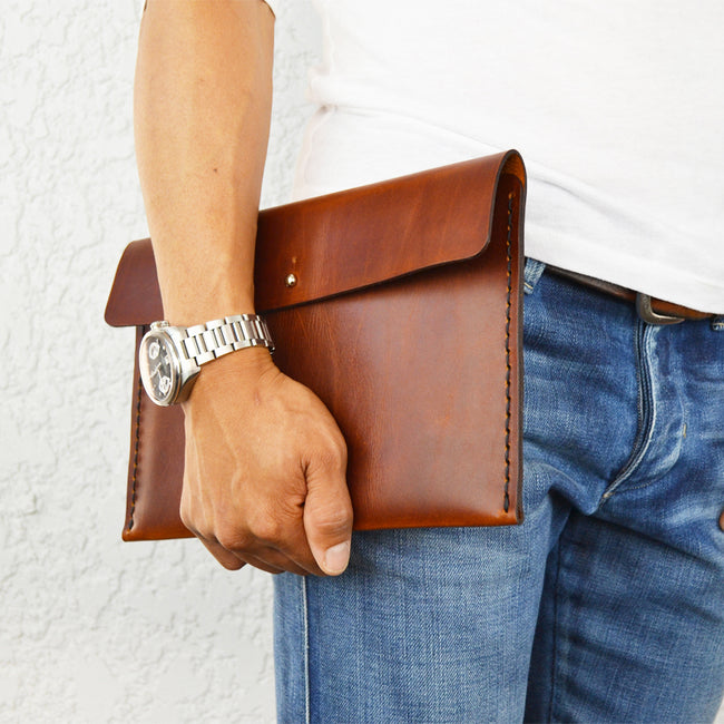 Leather iPad - Sleeve / Leather Mini Folio / Clutch for small tablet - ShopTheMakers.com