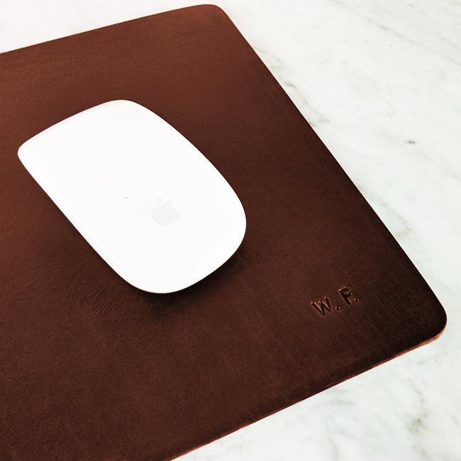 Leather Mouse pad - medium size/ Elegant Personalized Handmade Leather Mousepad - ShopTheMakers.com