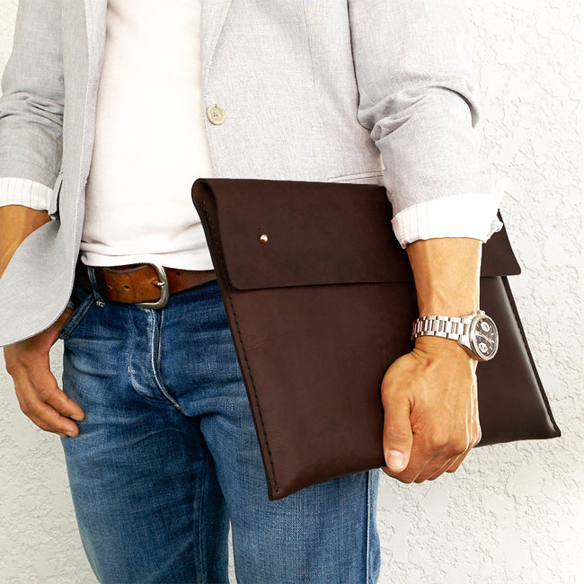 "Leather Macbook Cover / Handstiched Leather Folio for 15"" macbook - ShopTheMakers.com"