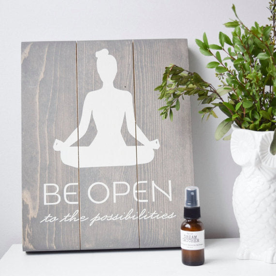 Be Open to the Possibilities - Handprinted Yoga Sign Perfect home or cabin wall decor, wall art or a gallery wall - ShopTheMakers.com