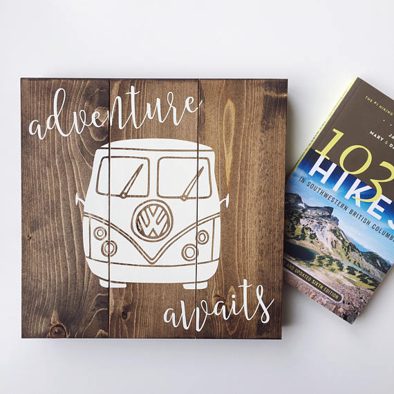 Adventure Awaits - Handmade VW Van Sign. Perfect home or cabin wall decor, wall art or a gallery wall - ShopTheMakers.com