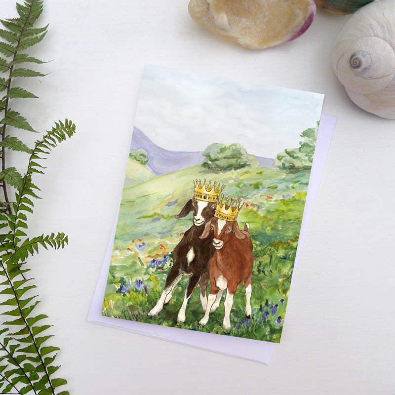 "Golden 5""x7"" greeting card - Two goats art card - Goats with crowns note card - gift card - ShopTheMakers.com"