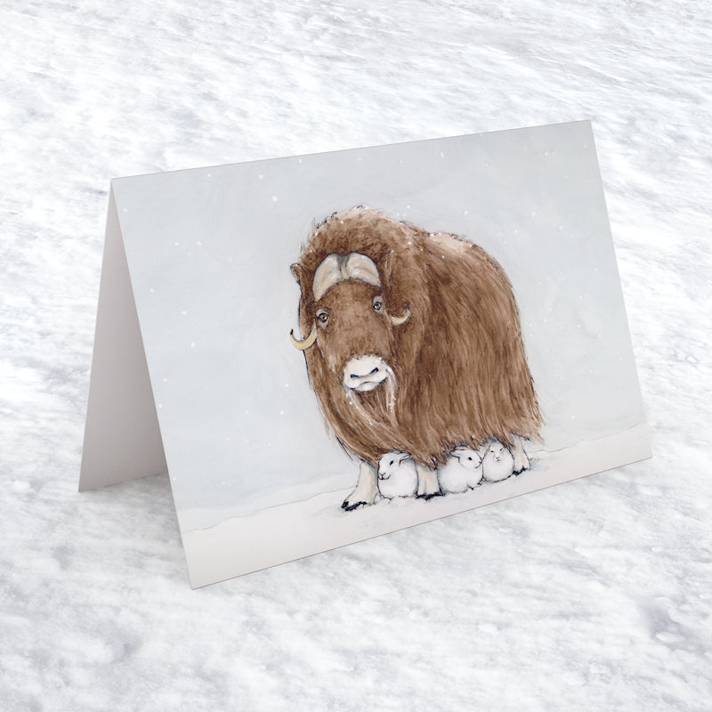 "Musk Ox 5""x7"" gift card - Christmas greeting card with Musk Ox and snowshoe hares - Winter note card - Watercolour art card - The Makers"