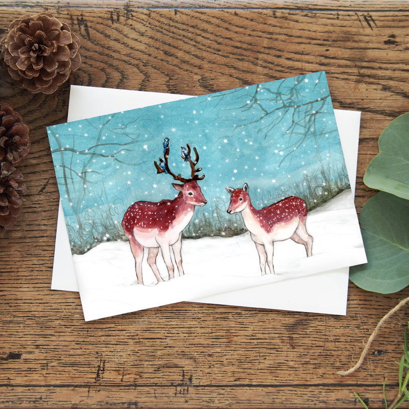 "Snow Fall 5""x7"" gift card - Two deer in snow greeting card - Winter note card - Watercolour art card - The Makers"