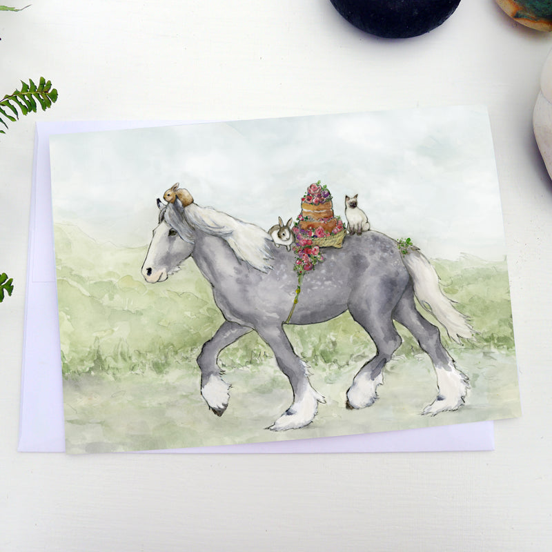 "To the Party 5""x7"" gift card - Horse with birthday cake, siamese cat and rabbit friends - All occasion note card - Watercolour art card - The Makers"