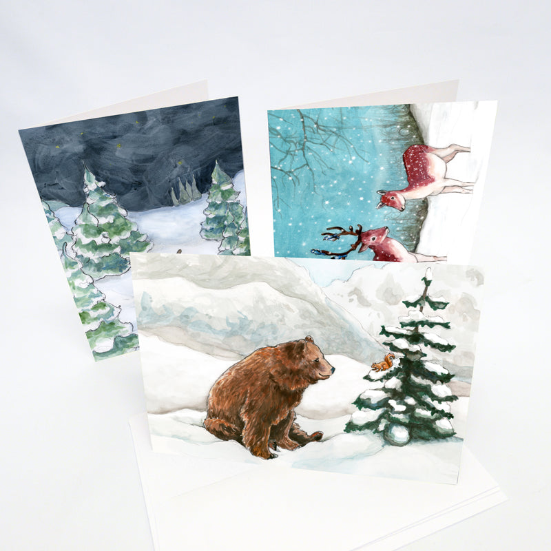 "Set of 10 All Occasion greeting cards 5""x7"" - Mix and Match animal gift cards - Summery and wintery animal note cards - The Makers"