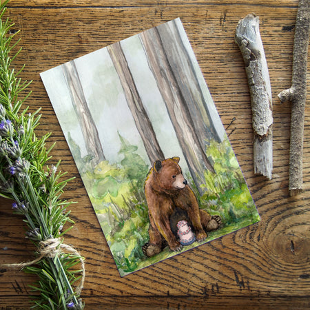 "Time for Cake 5""x7"" gift card - Bear with birthday cake greeting card - All occasion note card - Watercolour art card - The Makers"