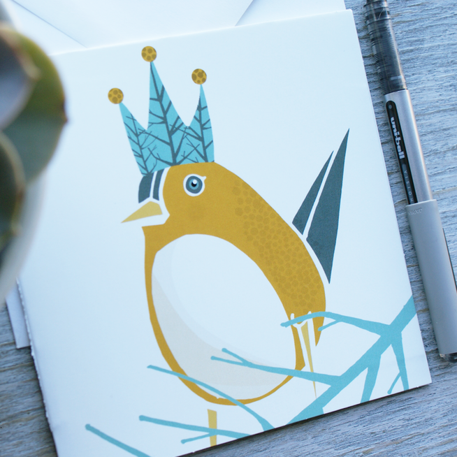 FOREST KING BIRD CARD 5X5 square card printed on heavy stock with a glossy finish - ShopTheMakers.com