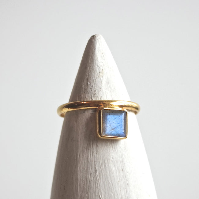 Labradorite Square Ring - Gold - ShopTheMakers.com