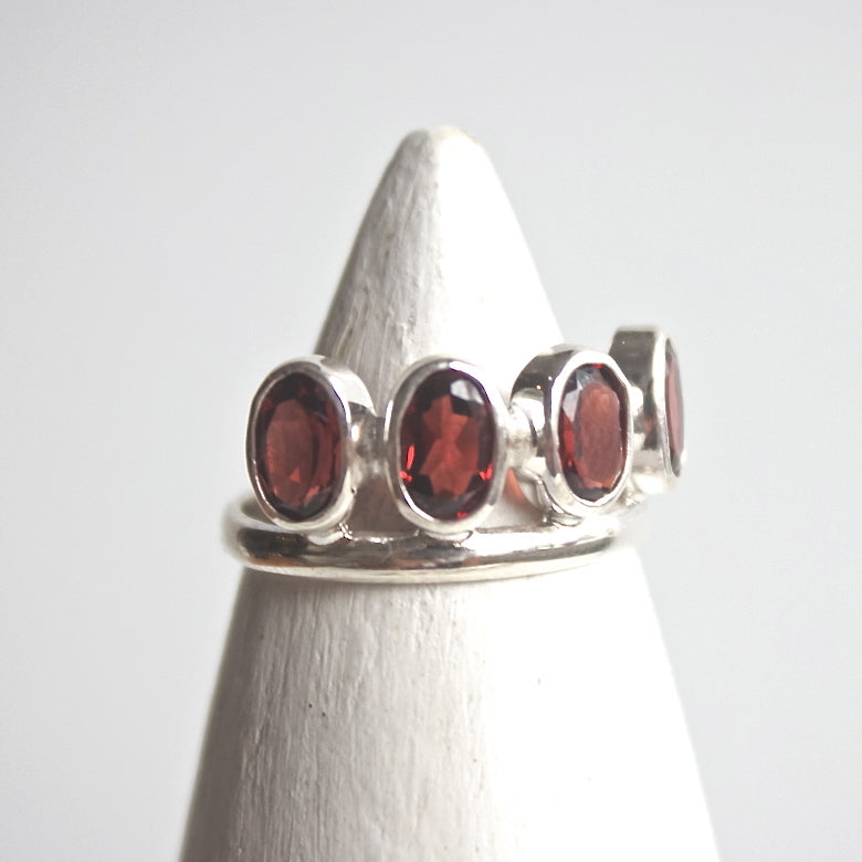 Garnet Crown Ring - Silver - ShopTheMakers.com