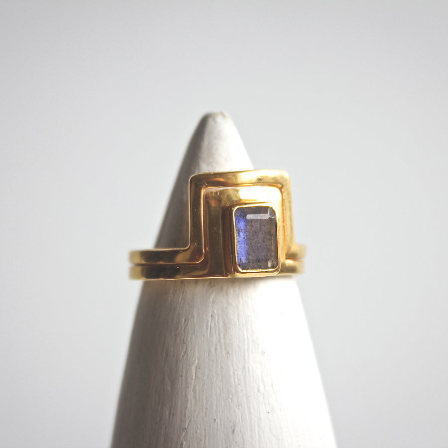 Double Line Labradorite Ring - ShopTheMakers.com