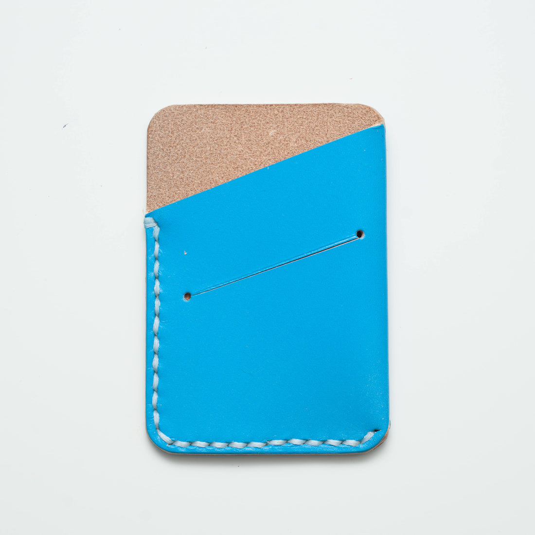 Leather Card Slip - Blue. - ShopTheMakers.com