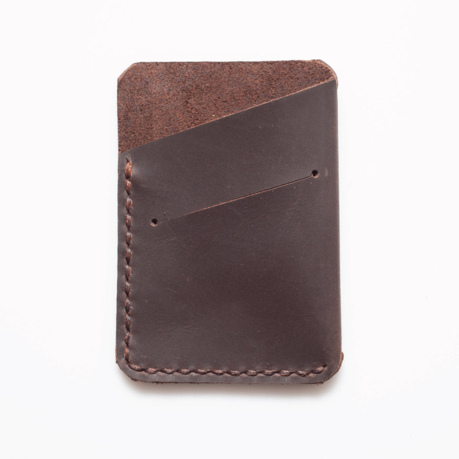 Leather Card Slip - Stoned Oiled Leather. - ShopTheMakers.com