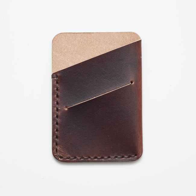 Leather Card Slip - Smooth Dark Brown. - ShopTheMakers.com