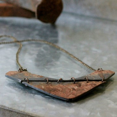 Faux Rusted Steel Industrial Statement Necklace - ShopTheMakers.com
