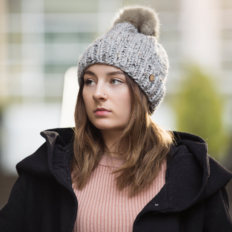 Hand Knit hat with Faux Fur Pom - The Makers