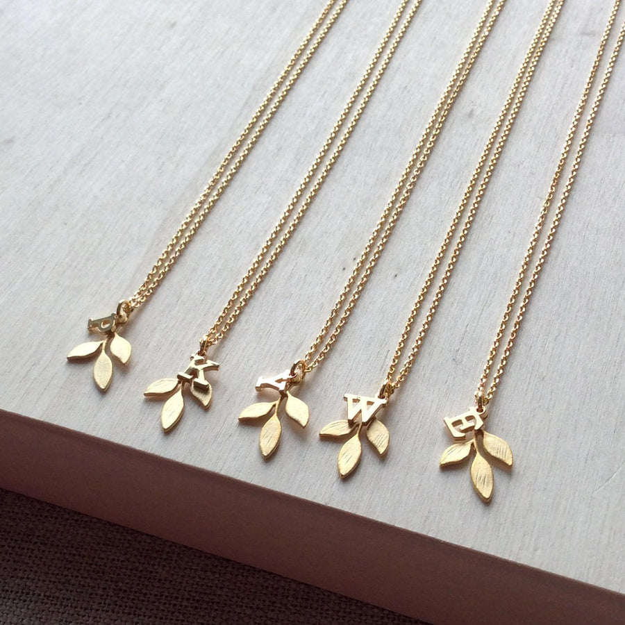 sheva leaf pendant two necklace parisienne products leaves vie jewelry la necklcae gold