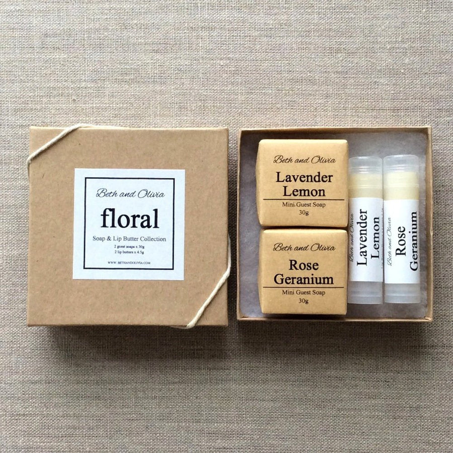 FLORAL SOAP AND LIP BUTTER GIFT SET - ShopTheMakers.com